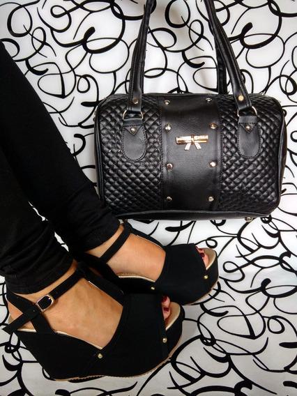 Combos Juegos Duos Bolsos Y Zapatos Negro Moda Envío Gratis