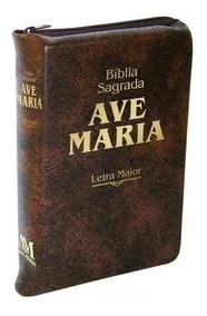 Bíblia Sagrada Ave-maria - Letra Maior - Zíper Marrom