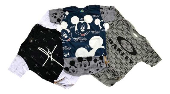 Kit 3 Camisetas Long Line Swag Infantil Juvenil Menino 2ao16