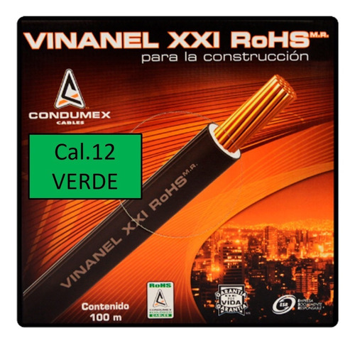 Caja 100 Mts Cable Verde Thw Cal 12 Awg Condumex Vinanel