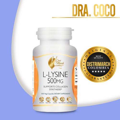 Imagen 1 de 5 de L-lysine L Lisina 500mg Dra Coco March Distrimarch