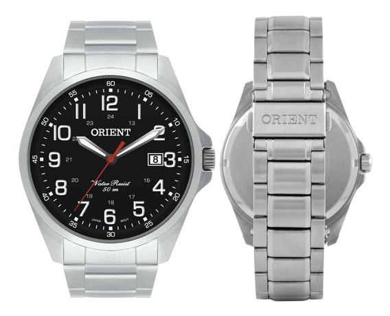 Relógio Orient Masculino Prata Visor Preto Calendário Origin