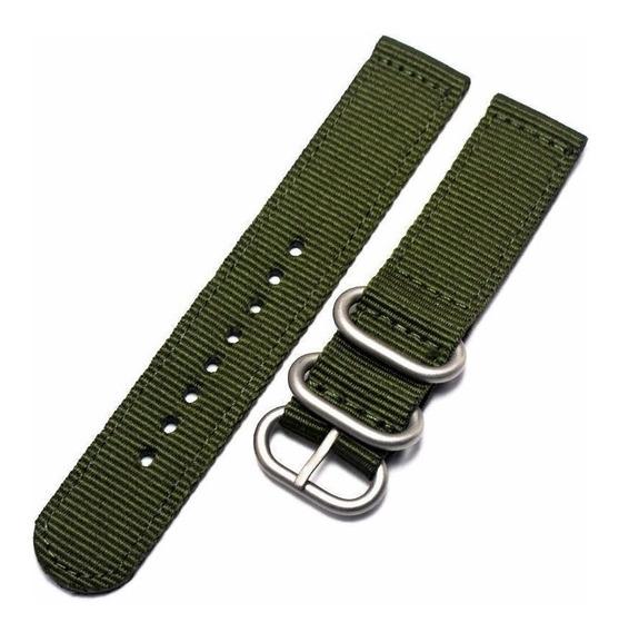 Pulseira Nylon Militar Tradicional Verde 22mm Zulu Relógio