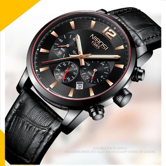 Relogio Nibosi Social Couro Preto Luxo Original Prova Dagua Funcional Sportivo Cronometro Frete Gratis R11a Lxbr