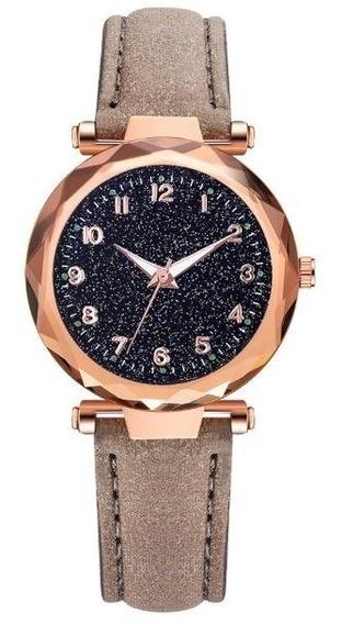 Relógio Feminino Da Moda Watch Brilhante Pulseira Couro Promoção