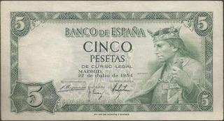 Billete Del Banco De España De 5 Pesetas 1954 - Billetes en