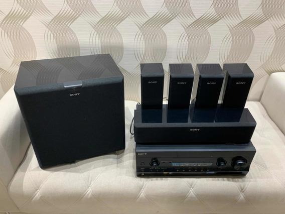 Receiver E Home Teacher Sony 7.2 Completo Caixas E Subwoofer