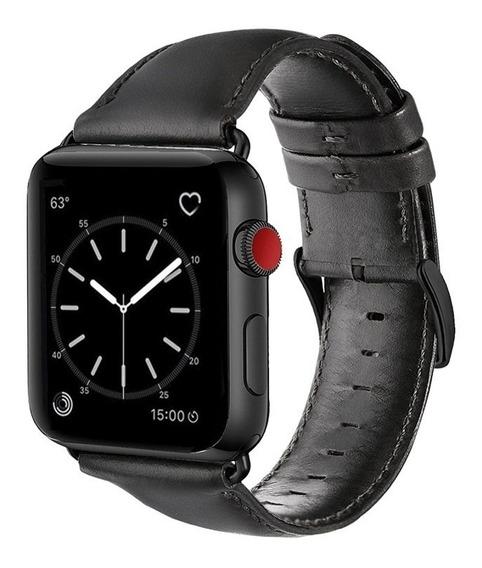 Pulseira Couro Apple Watch 44mm/42mm Com Adaptadores Pretos