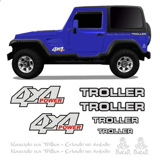 Kit Adesivos Troller 2000/2004 4x4 Power Resinado Prata
