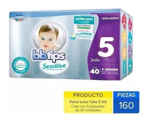 Caja De Pañal Bbtips Extra Grande Con 4 Paquetes (160 Pzs)