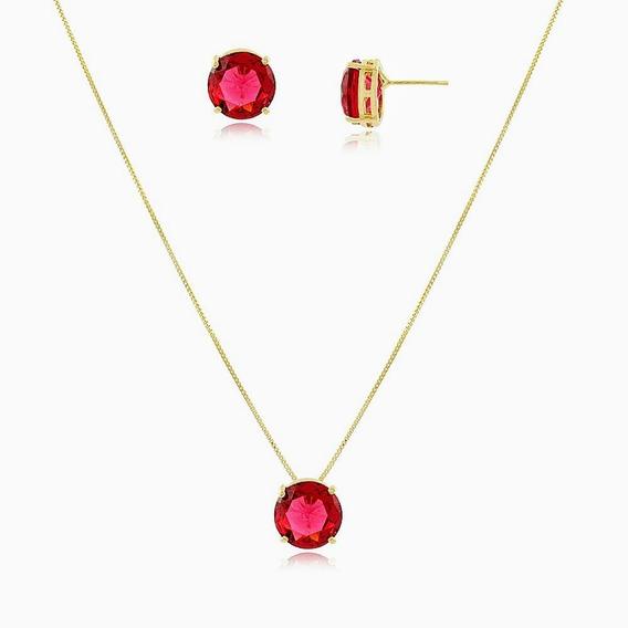 Conjunto Colar+brinco Ping Pedra Rubelita Delicado Ouro 18k