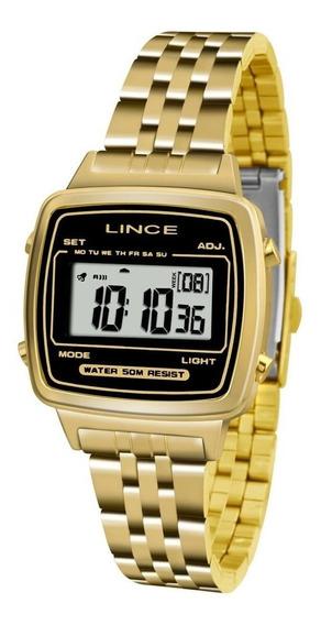 Relógio Lince Feminino Digital Original Dourado