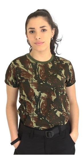 Camiseta Baby Look Feminina Camuflada | Eb