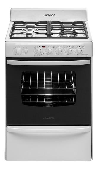 Cocina Longvie 19501B 4 hornallas multigas blanca 220V puerta visor 74L