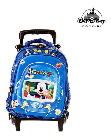 Mochila Pequena Escolar Infantil Mickey Mouse Com Rodinhas