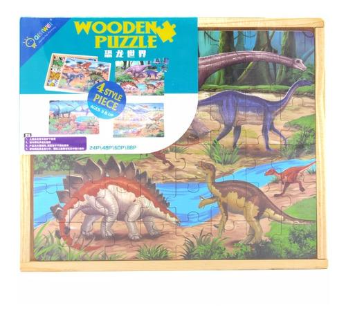 Caja Madera Con 4 Puzzles, Dinosaurios