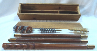 Antigua Baqueta Kit Limpia Armas Bronce Madera Caja Escopeta