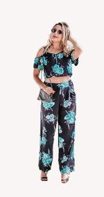Conjunto Cropped E Calça Pantalona Florido