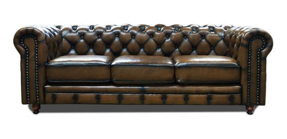 Sofa Piel Genuina - Chesterfield - Descuento Contado