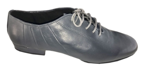Zapatos De Baile Hombre Tango Salsa Rock Flexible Cuero Gris