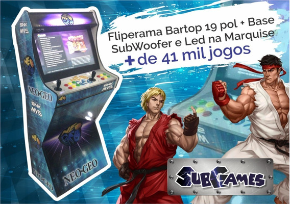 Bartop 19pol Com Base 41000jogos+sub+led Da Subgames