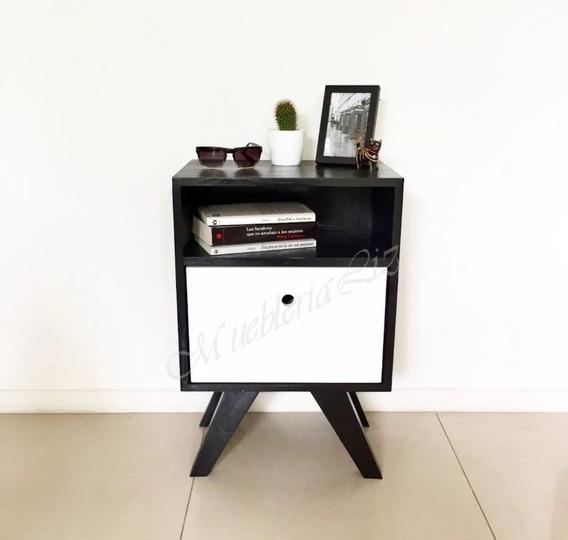 Par De Buros Diseño Retro Vintage Nórdico Negro Blanco