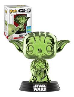 Funko Pop 124 Star Wars Yoda Green Chrome Sdcc 2019