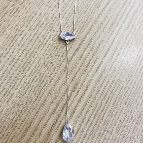 Colar De Prata Gravata Com Zircônias Brancas
