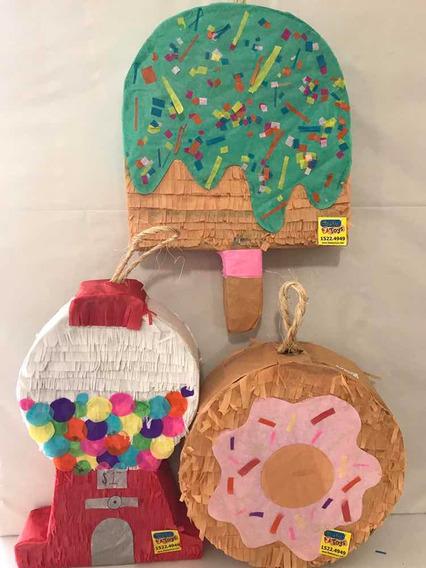 3 Mini Piñatas Decorativas Fiesta Dulces Chicles Paleta Dona