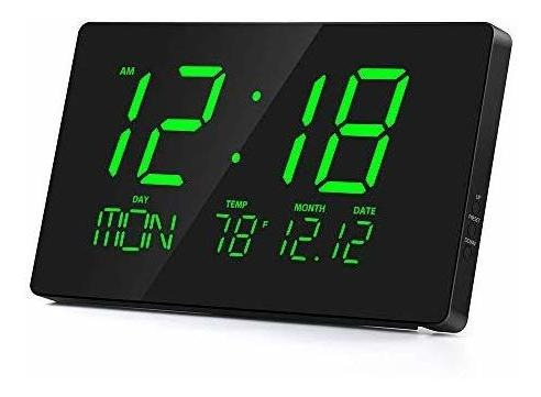 Rcm - Reloj De Pared Digital Led De 14 Pulgadas Con Tempera