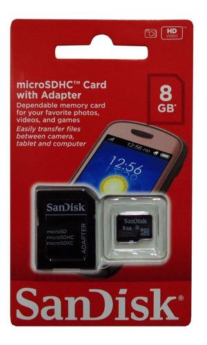 Memoria Micro Sdhc Sandisk 8gb Clase 4 Original Sellado Nuev