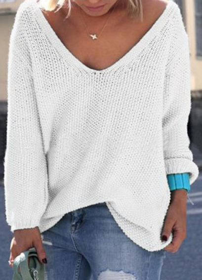 V-neck Large Size Pure Color Casual & Loose Pullover Sweater