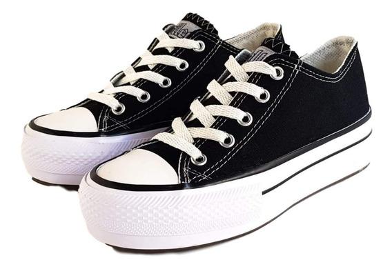 Zapatillas De Lona Con Plataforma Negras De La Marca Roller.