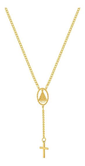 Colar De Aço (gold Ipg) Terço Nsra. Aparecida 45cm 2933745