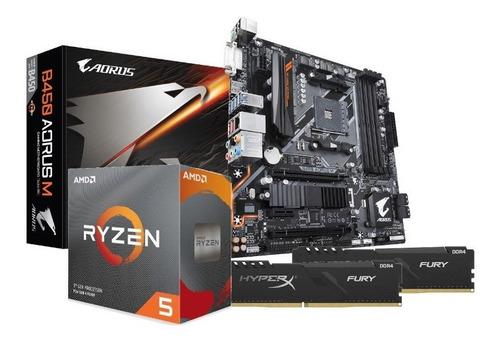 Imagem 1 de 5 de  Kit Processador Amd Ryzen 5 3600 B450 Aorus M 2x16gb Fury