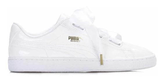 Puma Zapatillas Mujer Basket Heart Pantent Blanco