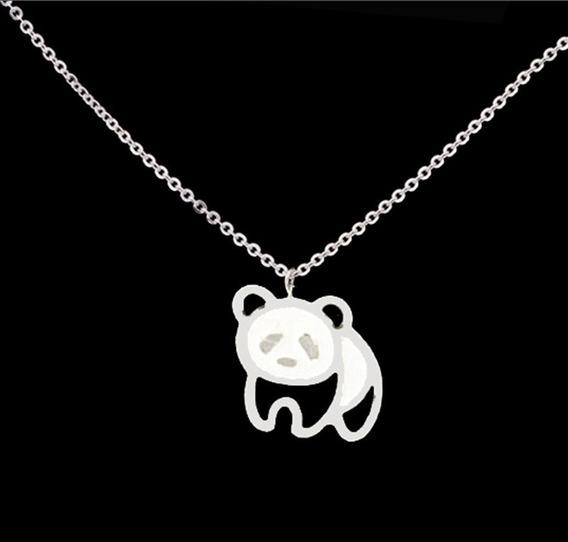 Urso Panda Corrente Com 25cm + Pingente De 2,5cm Pandinha Um Verdadeiro Charme Presente Dia Dos Namorados Natal Ano Novo