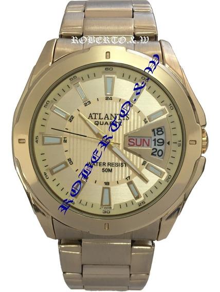 Relógio Masculino Atlantis Dourado 2 Calendário + Caixinha