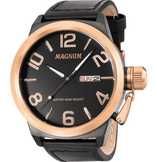 Relógio Magnum Ma33399u Masculino Original Preto Rosê