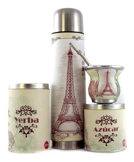 Set Matero Equipo De Ecocuero - Kit De Mate Paris Vintage