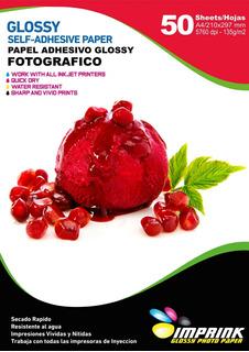Papel Adhesivo Glossy A4/135g/50 Hojas ..envio Gratis X 6un