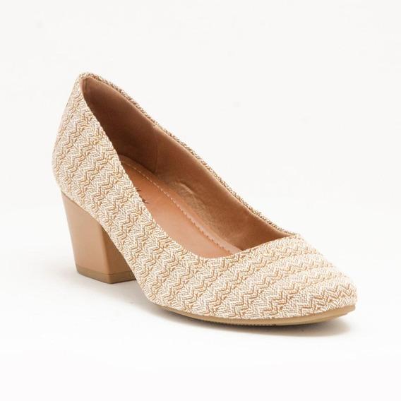 Sapato Mocassim Usaflex Tecido Étnico Feminino Salto Grosso