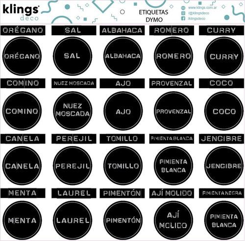 Etiquetas Condimentos Frasco Especieros Etiquetadora Negro