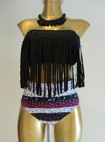 Bikini Negro Strapless Flecos Con Calzon Tiro Alto Estampado