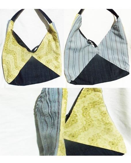 Bolso Doble Color (amarillo Y Celeste Rayado)