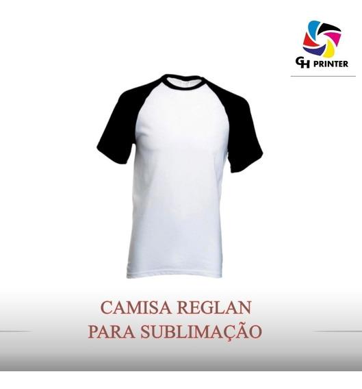 Camisa Raglan Branca C/ Manga Colori Sublimação 10 Unidades