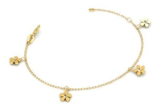 Tornozeleira Flor Ouro 18k - Código 3983