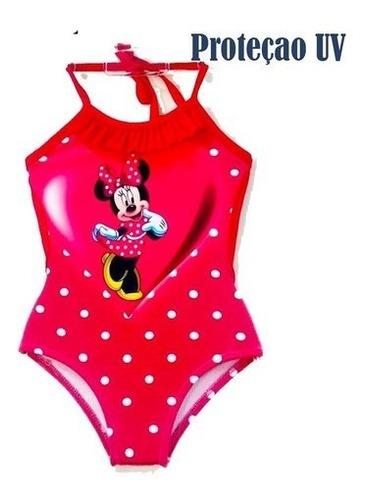Imagem 1 de 2 de Maiô Infantil Engana Mamãe Minnie Proteção Uv Praia Verão