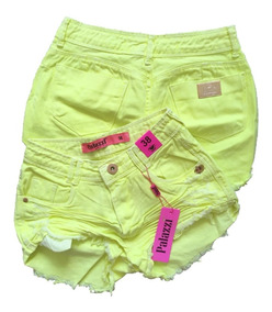 Shorts Jeans Palazzi Feminino Amarelo Neon Pronta Entrega
