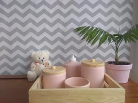 Kit Higiene 5 Peças Ceramica Madeira Porcelana Luxo
